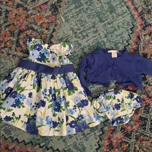Janie and Jack Dress, Cardigan and Bloomers SET